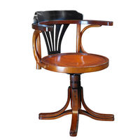 Black Purser's Chair - Features Solid Cherry and Maple Wood Finished in Black and Honey with Wrought Iron Accents - Authentic Models MF081