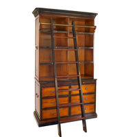 Cambridge Bookcase - Bookcase with Library Ladder - Features Solid Wood Construction in Light and Dark Honey Finish with Bronze Accents - Authentic Models MF095