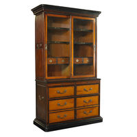 Kunstkammer Cabinet - Display Cabinet Replica - Features Sliding Glass Doors - Solid Wood Construction in Light and Dark Honey Finish with Brass Hardware Accents - Authentic Models MF088