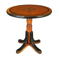 Mariner Star Table - Cocktail-Style Table - Features Inlaid Wood in Nautical Design, in Black and Honey Finish - Authentic Models MF085