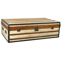 Large Polo Club Trunk - Storage Coffee Table - Features Solid Wood Frame Covered in Distressed Canvas with Brass Accents - Includes (2) Red Serving Trays Inside - Authentic Models MF090