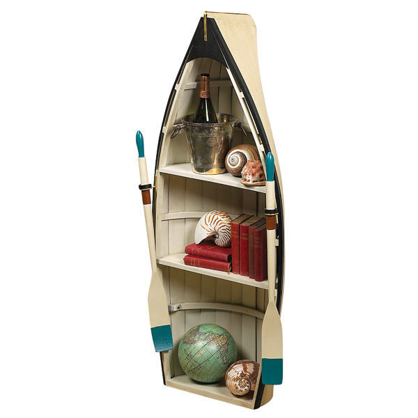 Dory Bookshelf and Convertible Table with Glass - Nautical Display Unit Image