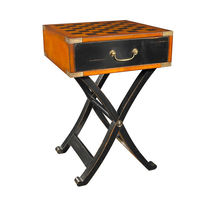 Grandmaster's Box - Inlaid Board Game Table - Features Solid Wood Constructions in French and Black Finish with Brass Accents - Includes (1) Drawer and Stand - Authentic Models MF112
