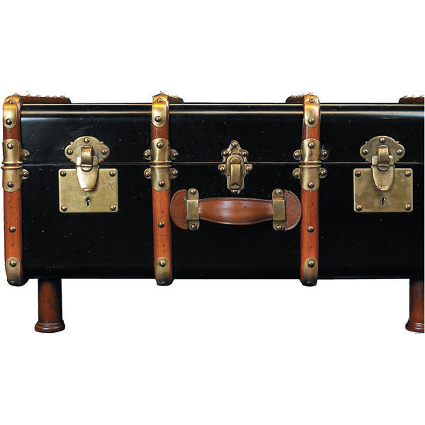 Stateroom Trunk in Black - 1930s Travel Replica Image