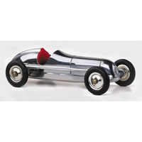 12 in. Length - Indianapolis - 1930s Indy Racer Replica - Silver with Red Seat - Authentic Models PC010R