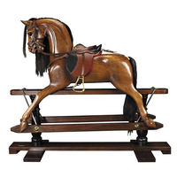 Victorian Rocking Horse - 19th Century Replica - Features Hand-Carved Mahogany in French Finish - Handmade Saddle with Real Leather - Authentic Models RH006