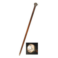 Time Companion - Victorian Walking Stick with Clock - Made of Solid Wood with Brass Accents - Authentic Models WS006
