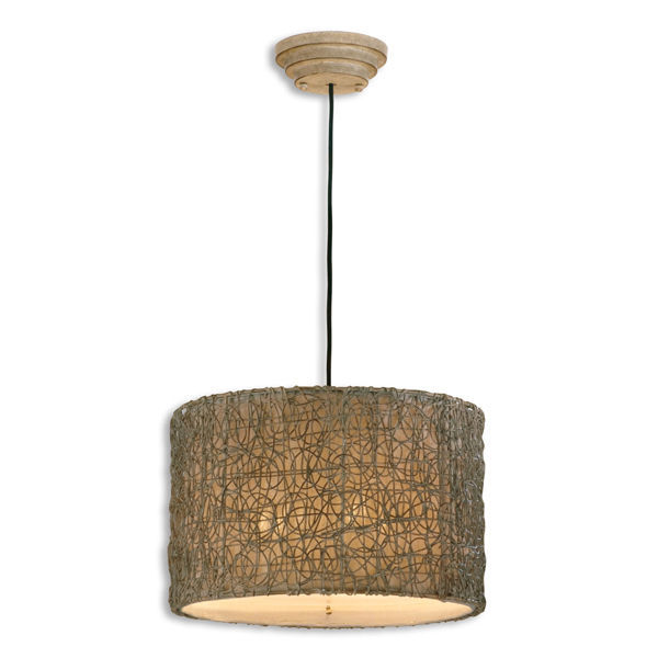 Uttermost 21105 - Light Rattan Drum Pendant Image