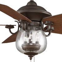 Fanimation FP7954OB - 52 in. - Crestford Ceiling Fan - (5) 22 in. Reversible Cherry and Walnut Finish Blades - Oil-Rubbed Bronze Finish - Light Kit Included
