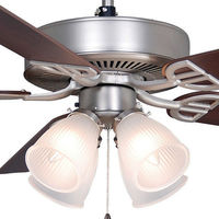 Fanimation BP210SN1 - 52 in. - Aire Decor Ceiling Fan - (5) 20.7 in. Reversible Cherry and Walnut Finish Blades - Satin Nickel Finish - Light Kit Included
