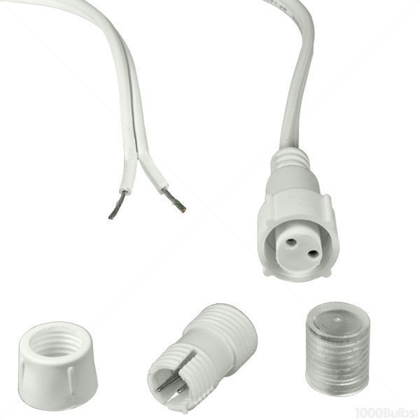 Incandescent or led connector kit 2 wire 12 in 12 volt incandescent or 12 volt dc led rope aloadofball Choice Image
