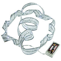 6 ft. Lighted Length - 1.5 in. Width - SILVER Ribbon - (18) COOL WHITE LEDs - 4 in. Battery Lead Wire