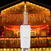 (Set of 2) 13.8 ft. Icicle Stringers - 300 Total Mini Lights - CLEAR - 27 Icicle Drops per Stringer - White Wire - Commercial Duty - 3 Set Max Connections