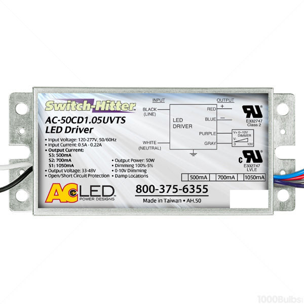 led driver constant current ac electronics ac 50cd1 05uvtsled driver dimmable 24 50w 500 1050 output current image