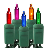 46 ft. Stringer - (100) Mini Lights - MULTI-COLOR - 6 in. Bulb Spacing - Green Wire - Commercial Duty - 5 Set Max. Connection - 120V
