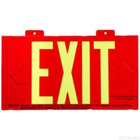 Exit Sign - Red Face with Photoluminescent Letters - 25 Year Effective Life - Includes Mounting Bracket and Red Frame - Exitronix PL-1-F-2-R