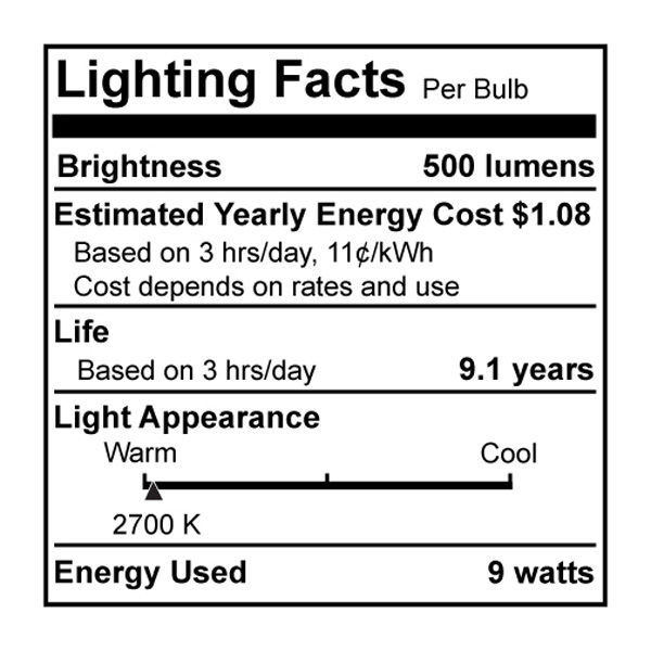 A-Shape CFL - 9 Watt - 40W Equal - 2700K Warm White Image