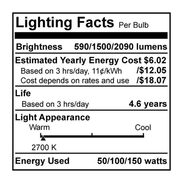 Bulbrite 711025 - 50/100/150 Watt Image