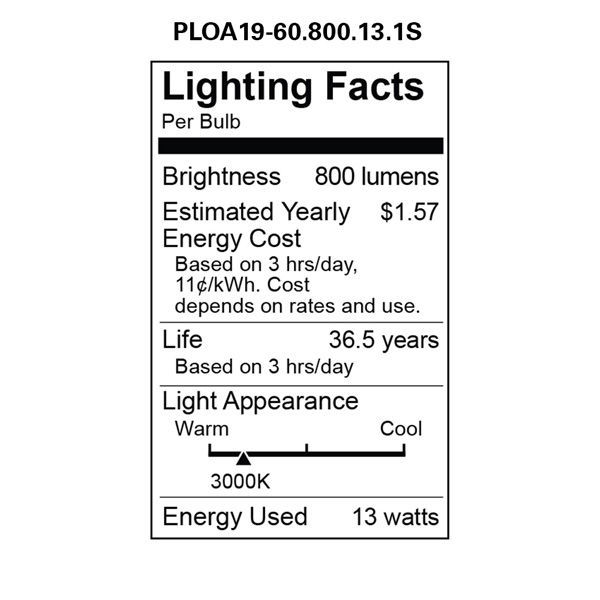 LED - 13 Watt - A19 - Omni-Directional - 60 Watt  Equal Image