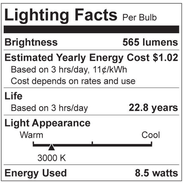 LED - A19 - 8 Watt - 60W Incandescent Equal Image