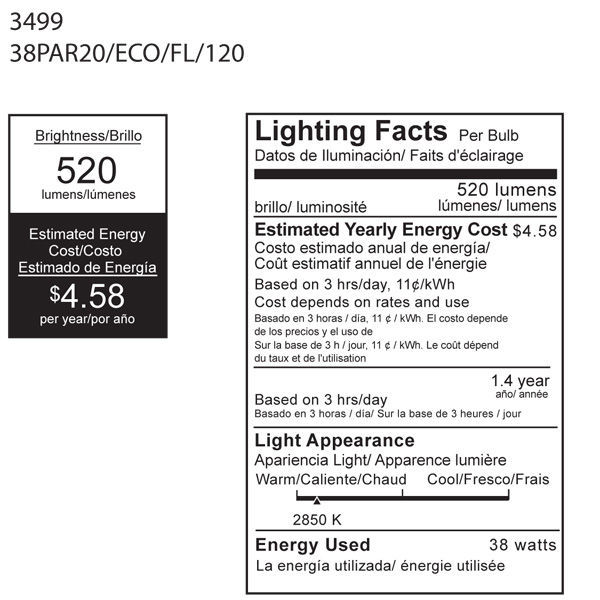 38 Watt - PAR20 - 50 Watt Equivalent - Flood Image