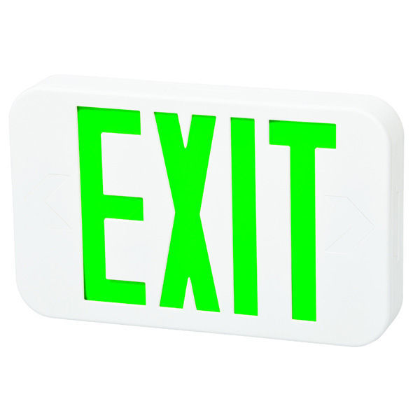 LED Exit Sign - White - Green Letters Image