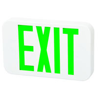 LED Exit Sign - White - Green Letters - 120/277 Volt and Battery Backup - Fulham FHEX20-WG-EM
