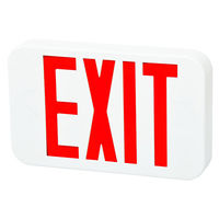 LED Exit Sign - Red Letters - 120/277 Volt and Battery Backup - White - Fulham FHEX20-WR-EM