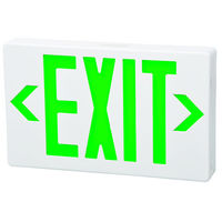LED Exit Sign - White - Green Letters - 120/277 Volt and Battery Backup - Fulham FHEX21-WG-EM