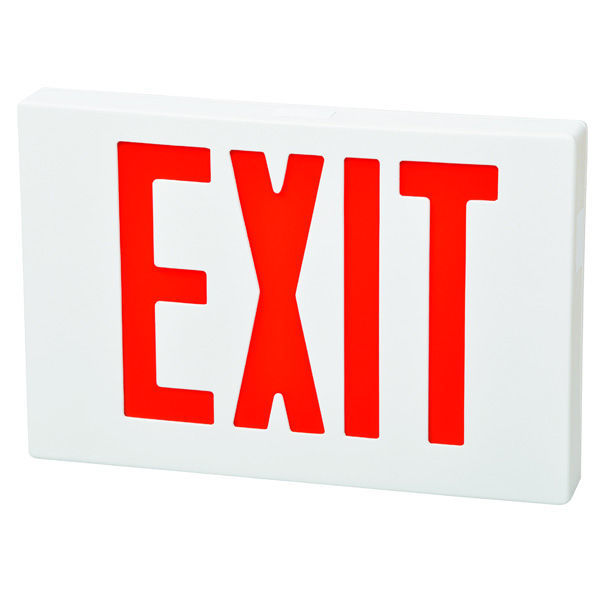 LED Exit Sign - White - Red Letters Image