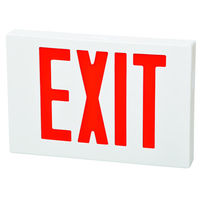 LED Exit Sign - Red Letters - 120/277 Volt and Battery Backup - White - Fulham FHEX21-WR-EM