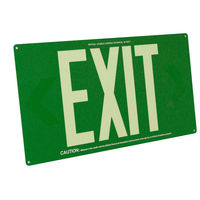 Single Face - Photoluminescent Exit Sign - Green - 50 ft. Viewing Distance - 20 Year Effective Life - Fulham FLPL50-S-G