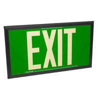 Single Face - Photoluminescent Exit Sign - Green - 50 ft. Viewing Distance - Black Frame - 20 Year Effective Life - Fulham FLPL50-S-G-B