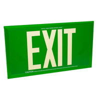 Single Face - Photoluminescent Exit Sign - Green - 50 ft. Viewing Distance - Green Frame - 20 Year Effective Life - Fulham FLPL50-S-G-G