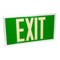 Single Face - Photoluminescent Exit Sign - Green - 50 ft. Viewing Distance - White Frame - 20-Year Effective Life - Fulham FLPL50-S-G-W