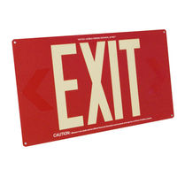 Single Face - Photoluminescent Exit Sign - Red - 50 ft. Viewing Distance - 20 Year Effective Life - Fulham FLPL50-S-R