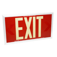 Single Face  - Photoluminescent Exit Sign - Red - 50 ft. Viewing Distance - White frame - 20 Year Effective Life - Fulham FLPL50-S-R-W