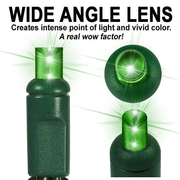 Green LED String Lights - 25 ft. - Green Wire - 5mm Wide Angle - 50 Bulbs Image