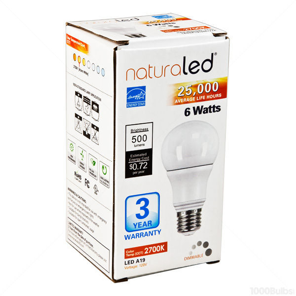 Dimmable LED - 6 Watt - A19 - 40 Watt  Equal Image