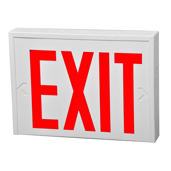 LED Exit Sign - White Steel - Red Letters Image