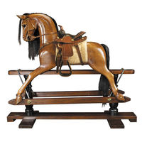 Victorian Rocking Horse - 19th Century Replica - Features Hand-Carved Mahogany in French Finish - Brown Mane and Tail - Handmade Western Saddle with Real Leather - Authentic Models RH006W