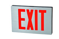 LED Exit Sign - Die Cast Aluminum - Red Letters - 120/277 Volt - AC Only No Battery - Fulham FHNY21-S-AC