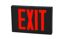 LED Exit Sign - Die Cast Aluminum - Red Letters - 120/277 Volt - AC Only No Battery - Fulham FHNY21-B-S-AC