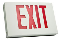 LED Exit Sign - White Aluminum - Red Letters - 120/277 Volt - AC Only No Battery - Fulham FHNY21-W-D-AC