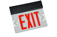 LED Exit Sign - Edge-Lit - Red Letters - 120/277 Volt and Battery Backup - Black - Fulham FHNY23-B-S-EM