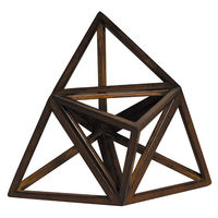 Elevated Tetrahedron - Architectural 12 Triangle Platonic Figure - Features Solid Wood in Honey Finish - Authentic Models AR037