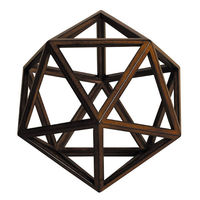 Icosahedron - Architectural 20 Triangle Platonic Figure - Features Solid Wood in Honey Finish - Authentic Models AR039