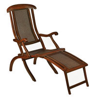 French Line Deck Chair - Features Solid Mahogany and Woven Rattan - Authentic Models CF250