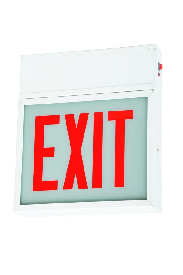 LED Exit Sign - White Steel - Double Arrow Image