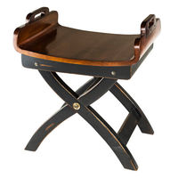 Fireside Stool - Features Solid Wood Construction Finished in Black and Dark Honey - Authentic Models MF115